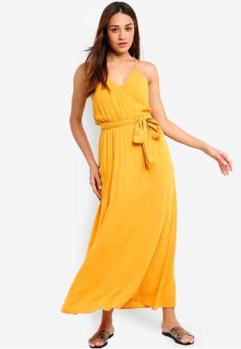 ZALORA yellow Overlap Maxi Dress 9ABA5AAE261299GS_1