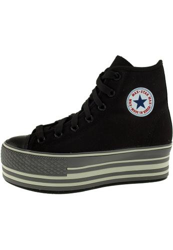 Maxstar 黑色 新款韩国鞋C57-Line時尚帆布布混合女黑色 US Women Size MA345SH62HGFTW_1