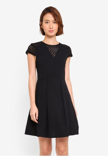 Buy ZALORA Cap Sleeve Fit   Flare Dress  d4b311c1933d