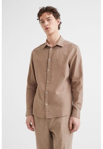 H&M beige Linen-blend shirt Slim Fit 48736AA54B1219GS_1