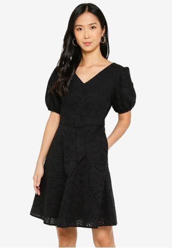 ZALORA BASICS black Puff Sleeves Eyelet Dress 4A200AA063BEE2GS_1