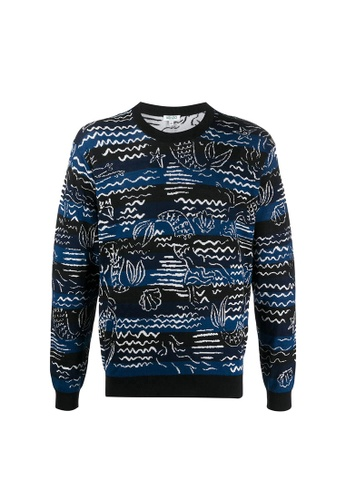"Kenzo blue Kenzo ""Mermaids"" Jumper Sweater in Midnight Blue 24FA1AAB33AB7EGS_1"