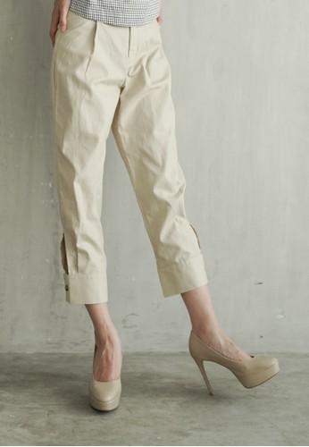 Valino beige VALINO LADIES BEIGE HARLIE CUFFED HEM PANTS 62686AAE0D72EDGS_1