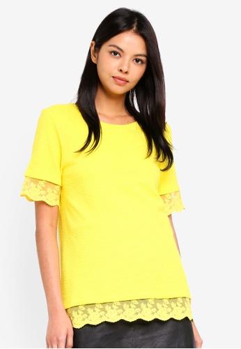 ESPRIT yellow Lace Hem Short Sleeve T-Shirt 3DC87AAD55821BGS_1