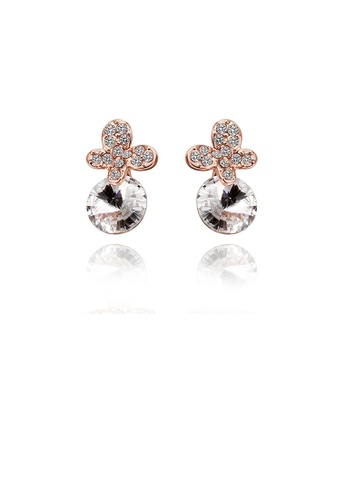 Glamorousky white Elegant Plated Rose Gold Butterfly Earrings with Austrian Element Crystal 0BED0AC3ECCF8DGS_1