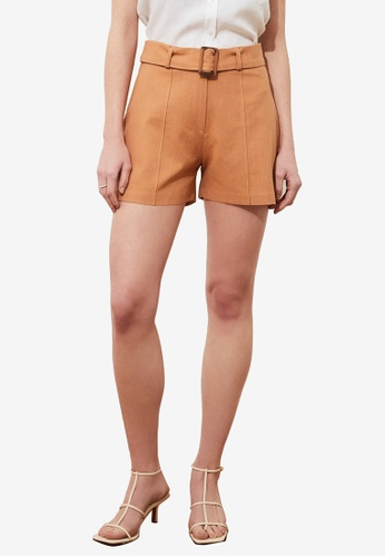 Trendyol brown Belted Shorts 19DA6AA4EB16D4GS_1