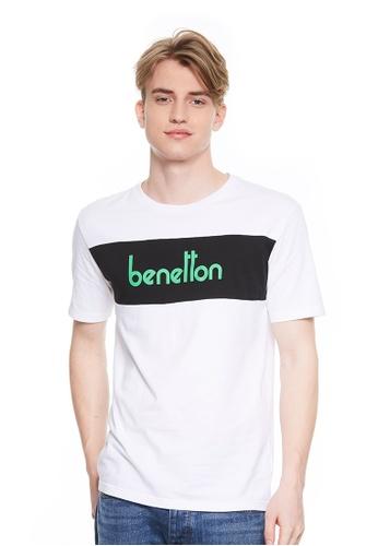 United Colors of Benetton white Logo Printed T-shirt E7666AAF0B7237GS_1