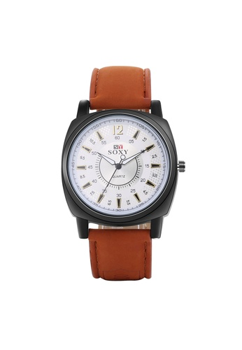 Treasure by B & D brown WH0052W Stylish Quartz Business Casual Man Watch Stainless Steel Metal Round Dial TR022AC30UOFPH_1