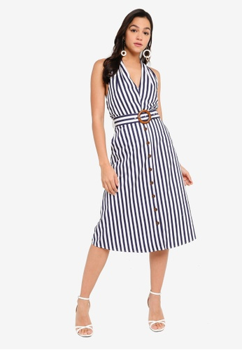 FORCAST white and navy Liv Halter Neck Stripe Dress 172F2AA10C7FB6GS_1