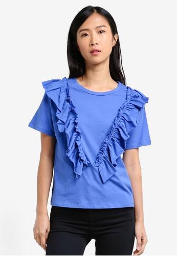 Mango blue Ruffles Ruched T-Shirt MA193AA0RXSUMY_1