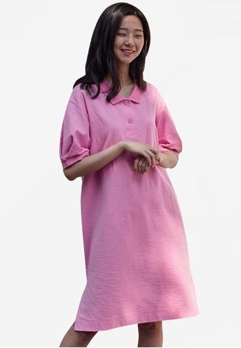 NAIN pink Casual Polo Dress DDAAFAA48BD011GS_1