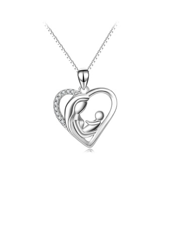Glamorousky white 925 Sterling Silver Fashion and Elegant Mother and Child Heart Pendant with Cubic Zirconia and Necklace 214CFACB891564GS_1