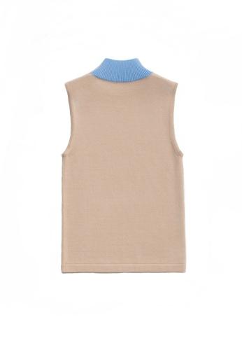 KLAPS beige Two-tone High Neck Top 0B339AA3F90371GS_1