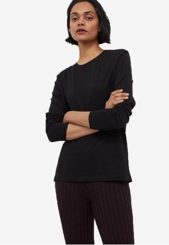 H&M black Long-Sleeved Jersey Top 22EE4AA2D236D5GS_1