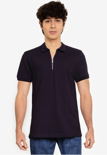 French Connection blue Zip Up Pique Polo Shirt 46841AA1247707GS_1