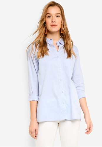 ICHI blue Tesse Shirt B6C55AA004507DGS_1
