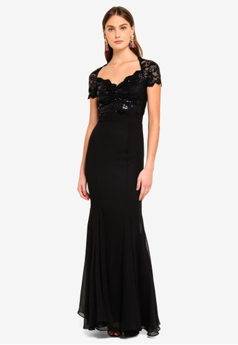 Goddiva black Sequin And Lace Scalloped Neckline Maxi Dress D816AAA028C5EAGS_1