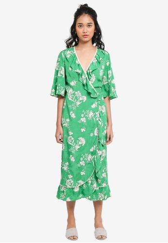 TOPSHOP green Leaf Print Ruffle Wrap Dress AAF7FAA48A97F3GS_1