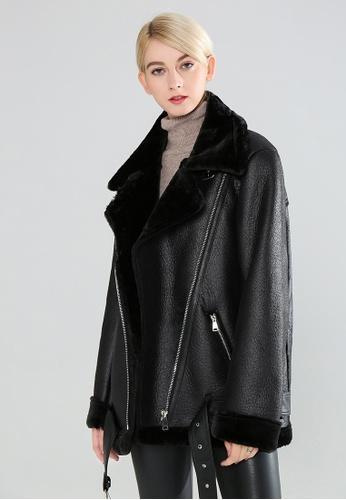 London Rag black Biker Jacket With Faux Fur Collar 3EC92AA05397A5GS_1