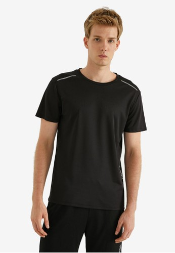 KOTON black Short Sleeve Print T-Shirt 84D40AAB86FBC7GS_1