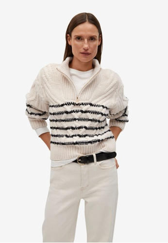 Mango beige Contrasting Knit Sweater 0D3F2AAA2AF4B7GS_1