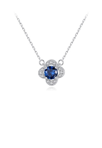 Glamorousky white 925 Sterling Silver Fashion and Elegant Flower Pendant with Blue Cubic Zirconia and Necklace 0B163AC1AE12C2GS_1