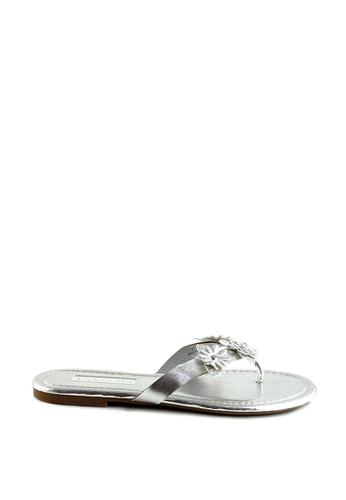 London Rag silver Silver Flower Thong Sandals 968B5SHEBBBE30GS_1