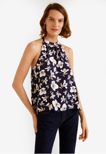 Mango navy Halter Neck Top 4DBA3AA07A6D16GS_1