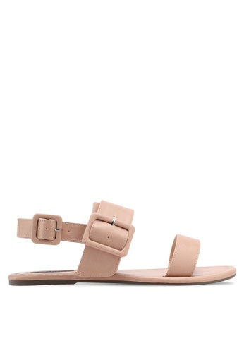 ZALORA beige Double Strap Sandals 89A48SHAFC4483GS_1