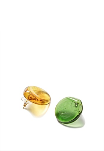 MONDAY EDITION yellow and green Semicircle Earrings 785DBACBF208A9GS_1