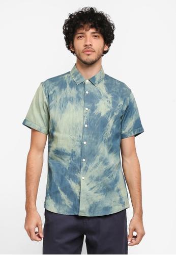 JAXON green and blue Tie Dye Shirt 90B4DAA86F5A3EGS_1
