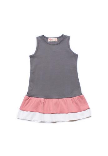 Mini Moley grey Tiered Ruffle Girl's Sleeveless Shift Dress AB662KAFF87E6CGS_1