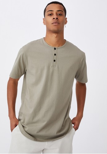 Cotton On green Longline Scoop Henley T-Shirt BEE03AA84FB398GS_1