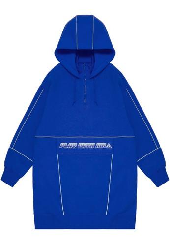 Mini cream blue Play With Me hoodie dress DE652AA6AAB074GS_1