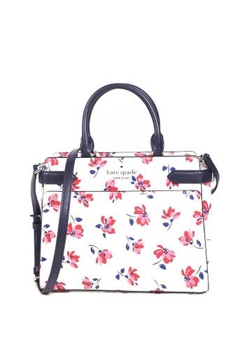 KATE SPADE white Kate Spade Medium Staci Tea Garden WKR00489 Satchel Bag In White Multi 717E3AC29FADB4GS_1