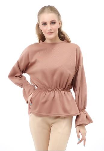 Hamlin brown Cheva Blouse Wanita Lengan Pendek Kerut Pinggang Material Cotton ORIGINAL - Mocca 99E1EAAD04CDA9GS_1