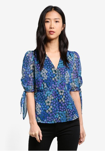 Mango blue Floral Print Blouse MA193AA0RXSPMY_1