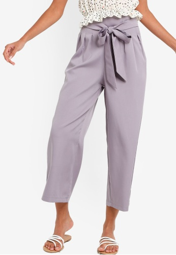 Womens Striped Trousers Culotte Wide Leg Paper Bag Tie Knot Belt Night Out