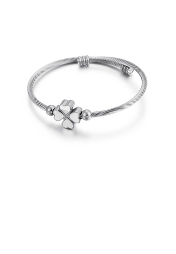 Glamorousky silver Simple and Elegant Four-leafed Clover Shell 316L Stainless Steel Bangle AD3B1AC4FBDD8DGS_1