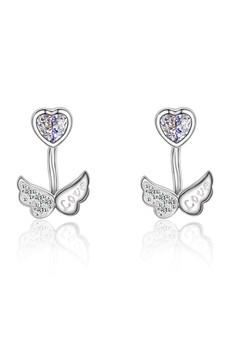 【ZALORA】 LFF5203-LYCKA-S925 銀飾天使翅膀心形白色鋯石耳環-銀色