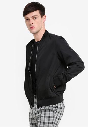 Burton Menswear London 黑色 Black Nylon Bomber Jacket 4CFAEAAD47F8C1GS_1