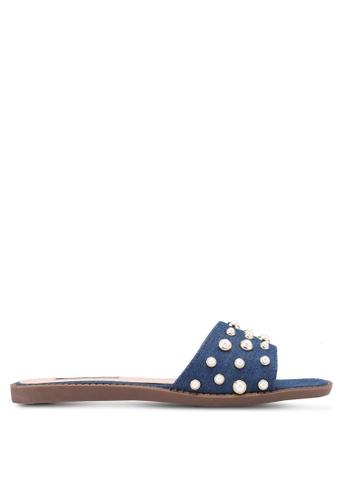 Nose blue Pearl Slide On Sandals 3B61FSH38F88D4GS_1