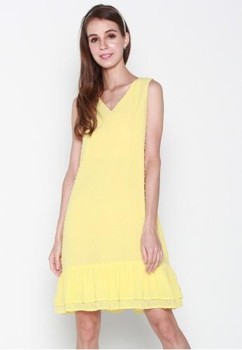 JOVET yellow Sleeveless Dotty Flute Hem Dress 01A45AA99CA411GS_1