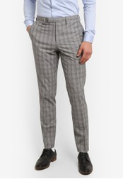 Topman grey Gray And Black Checkered Muscle Fit Suit Pants TO413AA0S5LWMY_1