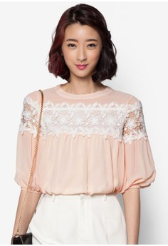 Loose Fit Blouse with Lace Panel