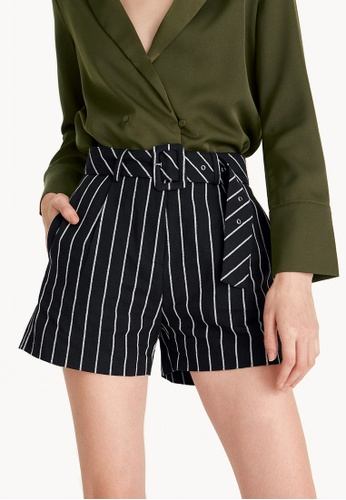 Pomelo black Striped Linen Belted A-Line Shorts - Black 6E5BAAAB17D60BGS_1