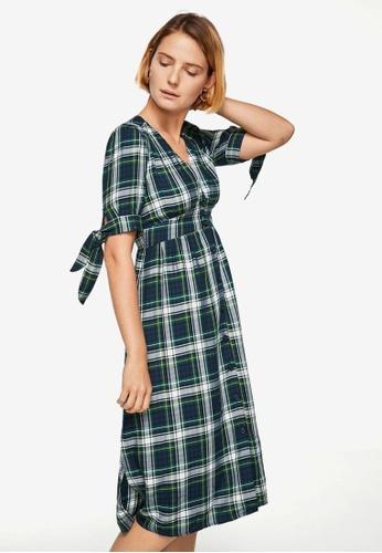 Mango green Check Pattern Midi Dress A698CAA40ACE1FGS_1