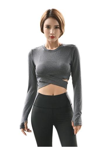 B-Code grey ZYG3012-Lady Quick Drying Running Fitness Yoga Sports Top -Grey C260CAA230109FGS_1