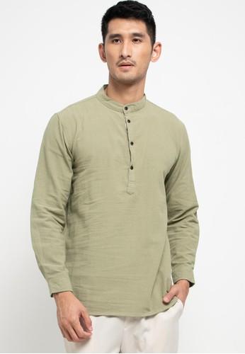 OLLten green O/L-Men Koko Long Shirt 62FD2AA7C88144GS_1