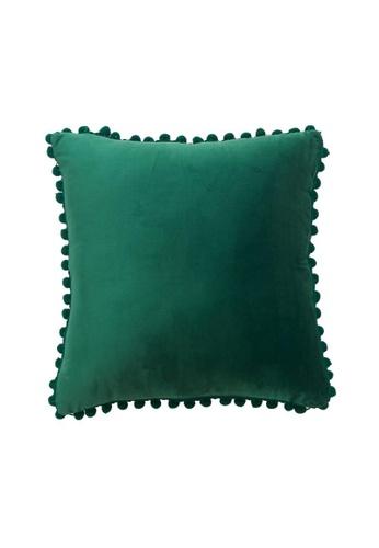 DILAS HOME Pom Pom Velvet Cushion Cover (Green) 642A0HL53FFCE4GS_1
